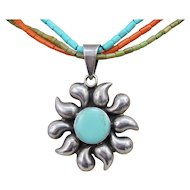 Southwestern Sterling Silver Turquoise Flaming Sun Pendant