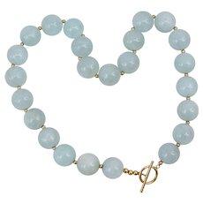 14K Yellow Gold Large Aquamarine Beaded Necklace Toggle Clasp