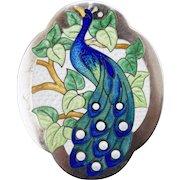 Art Deco Charles Robbins Sterling Silver Enamel Guilloche Pin Brooch