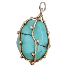 Art Nouveau 14k Yellow Gold FOB Pendant Turquoise Stone with Spiderweb