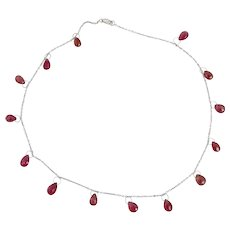 18K White Gold 14 Carats Raspberry Pink Tourmaline Briolettes Tear Drop Necklace