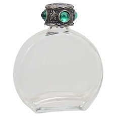 Arts and Crafts Style Mini Perfume Bottle With 800 Silver Jeweled Cap C1960s Italian