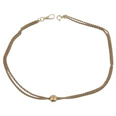 Victorian 14K Yellow Gold Double Strand Watch Chain with Ball Slider 15 1/4 (28) inches