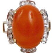 Amazing Retro Statement 14K Orange Red Coral Ring Diamonds