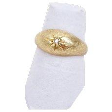 Designer Vintage 14K Yellow Gold Diamond Gypsy Ring Size 5