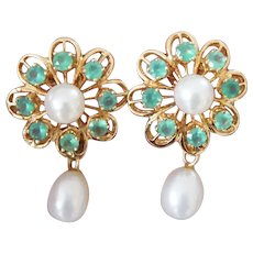 Vintage 14K Hand Crafted High Quality Faceted Chrysoprase and Cultured Pearl Earrings Clip Back