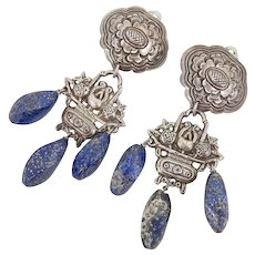 Huge Chinese Sterling Silver Repousse Flower Basket Earrings with Lapis Dangles