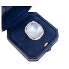 Out-of-this-World 35 Carats Sugar Loaf Moonstone Diamond Halo Platinum Ring