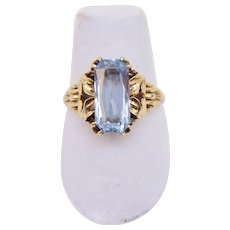 Art Deco 10K Yellow Gold Blue Stone Leaves Scroll Ring