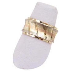 14K Tri-colored Cold Wide Wedding Band Cigar Band Ring
