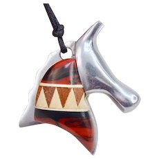 Awesome Mid Century 3-D Abstract Chrome Wood Resin Horse Head Pendant Necklace