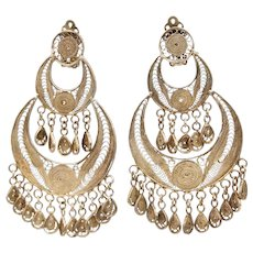 Designer Sterling Silver Vermeil Filigree Gypsy Style Dangle Earrings