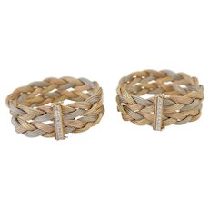 Pair Diamond 14K Tri-color Gold Woven Bracelets Choker Necklace