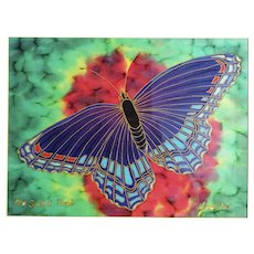 Gus Butcher French Serti Hand Painted Silk Charmeuse Butterfly Red Spotted Purple