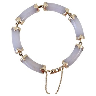 "Ming's of Honolulu 14K Yellow Gold Cylinder Lavender Jadeite Jade Link Bracelet 7.5"""