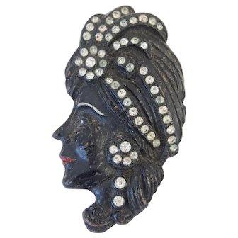 Large Nubian Princess Blackmoor Brooch Pin with Rhinestones