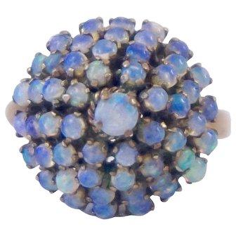 14K Yellow Gold Natural Opal Cluster Thai Princess Ring