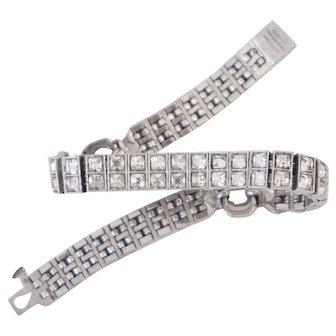 Art Deco 1920s Wachenheimer Sterling Silver Rhinestone Paste Bracelet