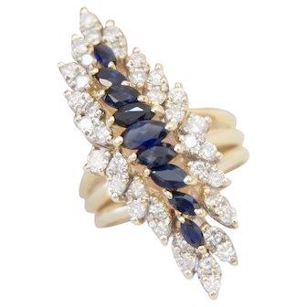 Statement 14K Yellow Gold Sapphire Diamond 2.18 Carats Elongate Lady's Ring Size 8