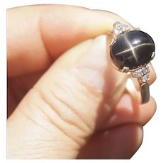 18K Yellow Gold Black Star Diopside Diamonds Ring Size 8 1/4