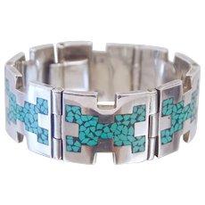 Jacopo Bros Turquoise Inlay Mexican Arte En Plata MMR Sterling Silver Pannel Bracelet Heavy!