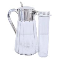 Mid Century Germany ASCI Silver-plated Crystal Claret Jug Water Pitcher Cocktail Pitcher X-Large