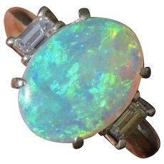 Most Beautiful Platinum Australian Semi Black Opal Diamond Ring - Red Tag Sale Item