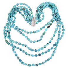 Six Strand Sterling Silver Turquoise Nuggets Bib Necklace