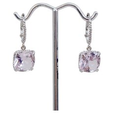 Pair 18K White Gold Kunzite Dangle Earrings 10 Carats