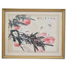 Chinese Framed Water Color Painting On Rice Paper Peaches and Bugs Qing Yun