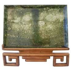 C1890 Chinese Spinach Jade Rectangular Tray 12 X 8 inches Museum Quality