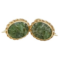 C1960s 14K Yellow Gold Carved Spinach Jade Earrings Screw Back Non-Pierced
