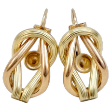 Victorian Revival Yellow Rose Gold Two Tone Maritime Reef Knot Love Knot Earrings Screw Backs