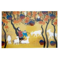 "Zhang Qingyi (1954-) Original Huxian Farmer's Painting Fall Thoughts 28"" X 25"" Chinese Primitive Art"