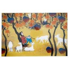 "Zhang Qingyi (1954-) Original Huxian Farmer's Painting Autumn Thoughts 28"" X 25"" Chinese Primitive Art - Autumn theme"