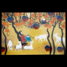 """Zhang Qingyi (1954-) Original Huxian Farmer's Painting Fall Thoughts 28"""" X 25"""" Chinese Primitive Art"""