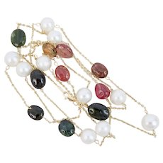 14K Yellow Gold Multi-color Tourmaline Fresh Water Pearl Tin Cup Sautoir Necklace 36""