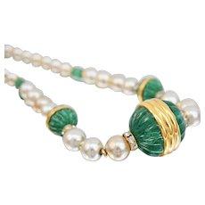 Vintage Lanvin Faux Pearl Emerald Green Gripoix Glass Necklace