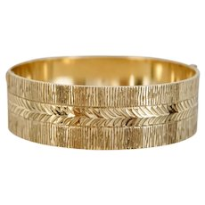 Vintage English 50 Micron 9ct Rolled Gold Etched Bangle Bracelet