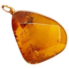 Large Polish Honey Amber Pendant with 14K Yellow Gold Amber