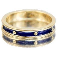 Hidalgo 18K Yellow Gold Wedding Band Stacking Ring Blue Enamel Dots 3.5 mm Size 5.5