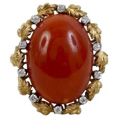 Finest Italian Sardinian Blood Red Coral Ring 18K Yellow Gold with Diamonds