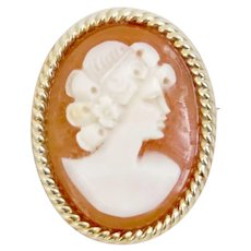 Well Carved 14k Yellow Gold Designer Shell Cameo Pendant Brooch
