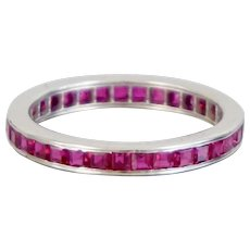 Platinum Natural Ruby Invisible Set Full Eternity Band 1.2 Carats Size 5