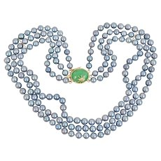 14K Yellow Gold 3 Strand Gray Cultured Salt Water Pearl with Jadeite Jade Clasp and Bug