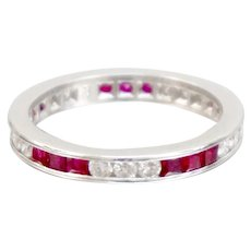 Vintage Wedding Band Eternity Ring Platinum Natural Ruby Diamond Size 6.5