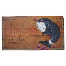 Cape Cod Whale Painting on Cranberry Box by Patricia A. McKee Little