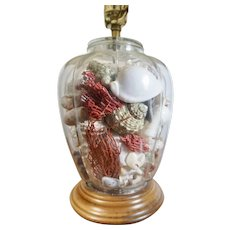"Coastal Cottage Seashells Coral Branch Vase Glass Ginger Jar Lamp Mid Century 19"""