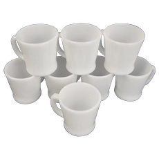 """Set of 8 Anchor Hocking Fire- King Milk Glass White Coffee Cup or Mug 3 1/2"""" by 3"""" D Handle"""