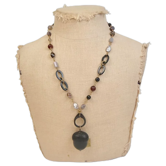 Beautiful Hand Crafted Band Agate, Onyx, Carnelian and Fresh Water Button Pearl necklace with Vintage Acorn Pendant